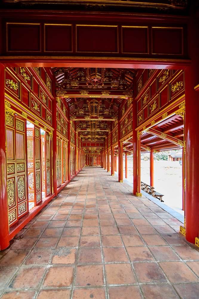 Vista percorso interno nella cittadella di Hue